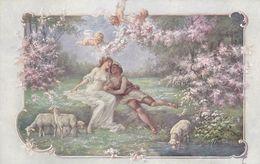 Cpa-illust.- Vienne- H. Christ N°196-pas Sur Delc.-scene De Vie Champetre-couple, Angelot, Moutons-art Deco / Nouveau - Vienne