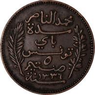 Monnaie, Tunisie, Muhammad Al-Nasir Bey, 5 Centimes, 1917, Paris, TTB, Bronze - Tunisia
