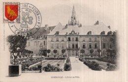 """CPA   38   GRENOBLE---L'HOTEL DE VILLE---TAMPON """" 40e ANNIVERSAIRE DU FOYER DES P T T CACHAN  1955"""" - Grenoble"""
