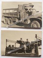Maroc Sidi Moussa Salé Rabat 1957 Militaire Homme Soldat Sur Camion Dodge GMC ? Photo Originale X2 - Krieg, Militär