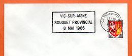 02 VIC SUR AISNE  BOUQUET PROVINCIAL 1966 Lettre Entière N° GH 295 - Marcophilie (Lettres)