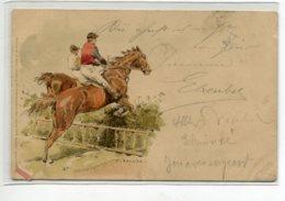 CHEVAUX  Hippisme Hurden Sprung Steeple Chase Franchissement Haie Illustra  C. BECKER 1901 écrite Hayingen     D10  2020 - Chevaux