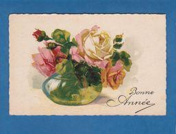 CARTE BONNE ANNEE FLEURS DANS UN VASE - New Year