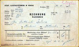 WW2 Generalgouvernement Städtische Elektrizitätswerke Krakau Rechnung 14 VI 1944 WW2 General Government City Of Kraków - 1939-45