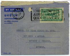 1957 INDIA AEROGRAMMA Per Il Belgio Da Bombay - Luftpostleichtbrief