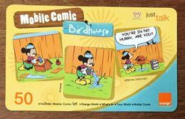 DISNEY MICKEY MOBILE COMIC THAÏLANDE ORANGE RECHARGE GSM 90 PREPAID PRÉPAYÉE - Disney