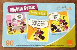 DISNEY MICKEY MOBILE COMIC THAÏLANDE ORANGE RECHARGE GSM PREPAID PRÉPAYÉE - Disney