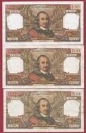 """100 Francs """"Corneille"""" 3 Billets Dans L 'état --02/02/1967----07/03/1968----03/04/1969 - 1962-1997 ''Francs''"""