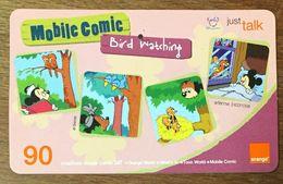 DISNEY MICKEY MOBILE COMIC BIRD WATCHING THAÏLANDE ORANGE RECHARGE GSM PREPAID PRÉPAYÉE - Disney