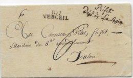 Département Conquis Italien Marque 107 / VERCEIL  AN 11 Griffe PREFET  /DEPT DE LA SESIA - Marcofilie (Brieven)