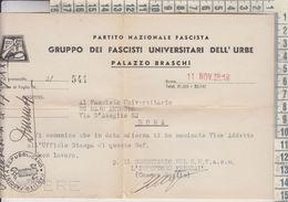 REGNO PARTITO FASCISTA NAZIONALE  1942 PALAZZO BRASCHI - Documents Historiques