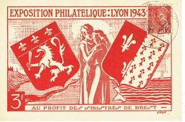 412 + 658 Mercure Deux Types Exposition Philatélique Lyon 1943 - 1938-42 Mercurio