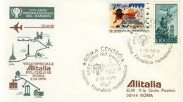 ITALIA - Roma 1979 - Anno Del Bambino UNICEF - Volo Speciale Alitalia Sul Cielo Di Roma. - Transports