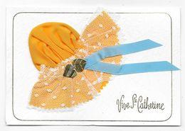 Cpsm: Vive Sainte Catherine - Carte Double (Bonnet Tissu, Coeurs, Tulle, Ruban Bleu) - Sainte-Catherine