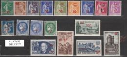 FRANCE Année 1941 N°  476-93 NEUFS*** - Nuovi