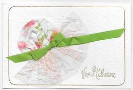 Cpsm: Vive Sainte Catherine - Carte Double (Bonnet Tissu Fleurs, Tulle, Ruban Vert) - Sainte-Catherine
