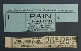 Tickets De Rationnement Pain Farine 1940 - Documents Historiques