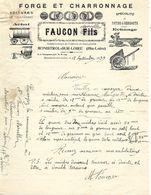 2 Factures 1939 / 43 MONISTROL SUR LOIRE / FAUCON Fils / Forge Et Charronnage, Constructeurs Voitures - 1900 – 1949