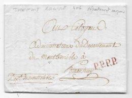 Département Conquis BELGE Lettre De TIREMONT AN 6 Port Payé Marque Manuscrite Dépt Du Mont Terrible - Postmark Collection (Covers)
