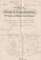 """Hist. Dokument / 1845 / """"Die Koenigliche Kommandschaft Muenchen"""" (BM17) - Documents Historiques"""