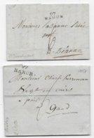 Département Conquis BELGE 2 Marques 97 / NAMUR  2 Modèles 1797 Et 1805 - Marcofilie (Brieven)