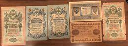 Russia 1 Rublo 1898 + 10 Rubli 1909 X 2 + 5 Rubli 1909 X 2 + 100 Rubli 1918 Lotto 1393 - Russia