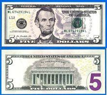 Usa 5 Dollars 2013 Neuf UNC Mint San Francisco L12 Suffixe L Etats Unis United States Dollars US Paypal Bitcoin OK - Large Size (...-1928)