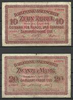 Germany WWI 1918 = 10 Rubel Posen & 20 Mark Kowno Bank Notes 1918 - Eerste Wereldoorlog