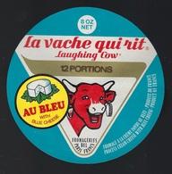 """Ancienne Etiquette Fromage La Vache Qui Rit  """" Au Bleu,"""" 12 Portions  Fromagerie Bel Paris France Export Grande Bretagne - Käse"""