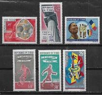 1966-7 Chad Deporte Futbol-UNESCO-jovenes Deportistas Bandera- 6v. Mint. - Chad (1960-...)