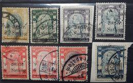 SIAM 1909 - 1910, Overprinted Surchargés,8 Timbres Yvert 87,88,90 X 2 Nuances,91 X 2 Nuances ,91 A ,94 , Obl TB - Siam