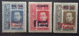 SIAM 1914 Roi Vajiravudh,  Overprinted Surchargés,3 Timbres Yvert 114, 115 , 116 , Neufs * MH TB - Siam