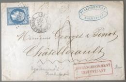 France N°14 Sur Lettre De Rochefort-sur-Mer (PC 2703) 1857 - AFFRANCHISSEMENT INSUFFISANT - (B2918) - 1849-1876: Classic Period
