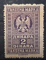 SERBIE SERBIJA SERBIA Jugoslavija, TAKSENA MARKA Steuermarke Fiscal, Revenue Stamp, 2 Dinara, Violet , Neuf * MH TB - Serbia