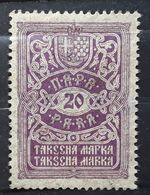 SERBIE SERBIJA SERBIA Jugoslavija, TAKSENA MARKA Steuermarke Fiscal, Revenue Stamp, 20 Para Violet , Obl  TB - Serbia