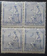 ANTILLAS ESPANOLES 1871 Colonia Espanola,  Bloc De 4 Yvert No 39, 25 C Outremer,  Neuf ** MNH,  TB - West Indies