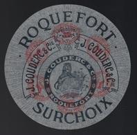 """Ancienne étiquette Fromage  Roquefort  Surchoix Aveyron 12  J Couderc & Cie  """" Lion, Globe Terrestre"""" - Cheese"""