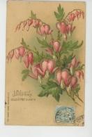 "FLEURS - Jolie Carte Fantaisie Gaufrée Fleurs Coeurs De Marie ""HEUREUX ANNIVERSAIRE "" (embossed Postcard) - Bloemen"