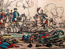 IMAGE PELLERIN . NAPOLEON 1° , Bicorne , Armée . BATAILLE D'AUSTERLITZ , 40.3 Cm X 29.8 Cm . GRAVURE COLORIEE POCHOIR - Documents Historiques