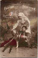 Militaire - Croix Rouge - 1918 Guerre Terrible - Courage - Bonne Année - Chien Fusil - Rode Kruis