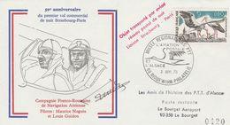 50ème ANNIVERSAIRE VOL De NUIT STRASBOURG- PARIS Le 2.9.73 - Signé - Cigognes - Airmail