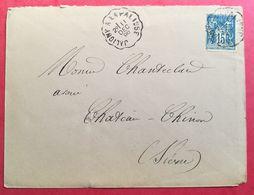 Enveloppe Avec Cachet Convoyeur JALIGNY A LA PALISSE - Poststempel (Briefe)