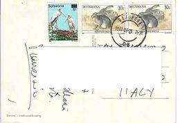BOTSWANA 1987 - FAUNA ANIMALI - 3 VALORI USATI SU CARTOLINA VIAGGIATA - Botswana (1966-...)