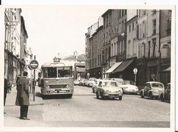 Grande Photo - Centre Ville De Nancy - Voiture Ancienne - Bus - Superbe Cliché Animé - Trains