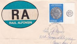 RAUL ALFONSIN VIGNETTE. TRANSMISION DEL MANDO PRESIDENCIAL. ARGENTINE FDC ENVELOPPE ANNEE 1983 -LILHU - FDC