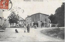 79 - PAMPROUX - PLACE DE LA LIBERTE - BELLE ANIMATION EN 1912 - EDITEUR H. GAUTRON - Sonstige Gemeinden