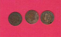 Monnaie Française Lot 3 Pièces 1 Centime Bronze Napoléon III Et Ceres 1862BB 1890A 1896A - A. 1 Centime