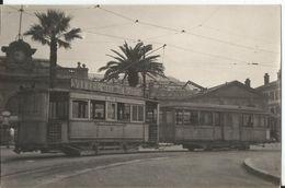Superbe Carte Photo - Tramway à Toulon En Gros Plan - Terminus Gare PLM En 1947 - Pub Vittel Source  Var 83 - Toulon
