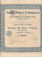 SOCIETE MINIERE D'ALMAGRERA - ESPAGNE - ACTION DE 100 FRS -ANNEE 1926 - Mines