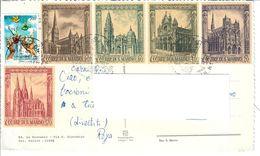 SAN MARINO 1967 / 1982 - CATTEDRALI GOTICHE E SAN FRANCESCO USATI SU CARTOLINA VIAGGIATA - Oblitérés